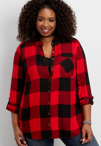 plus size button down buffalo plaid shirt with button down back