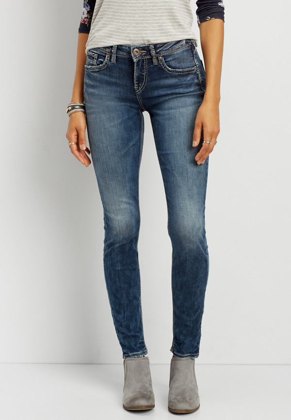 aef33743 Silver Jeans Co.® Avery high rise skinny jeans in medium marbled wash |  maurices
