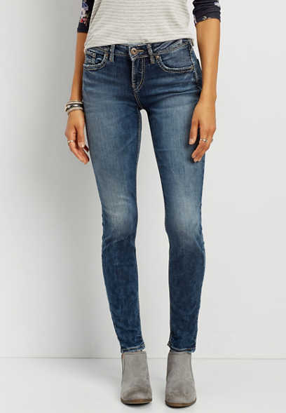 Silver Jeans Co.® Avery high rise skinny jeans in medium marbled wash
