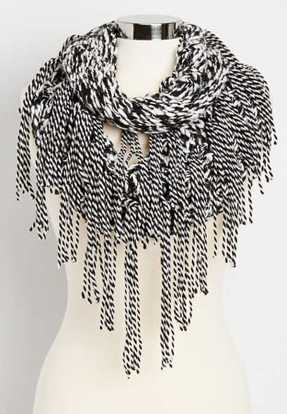 thick knit two tone infinity scarf with fringe