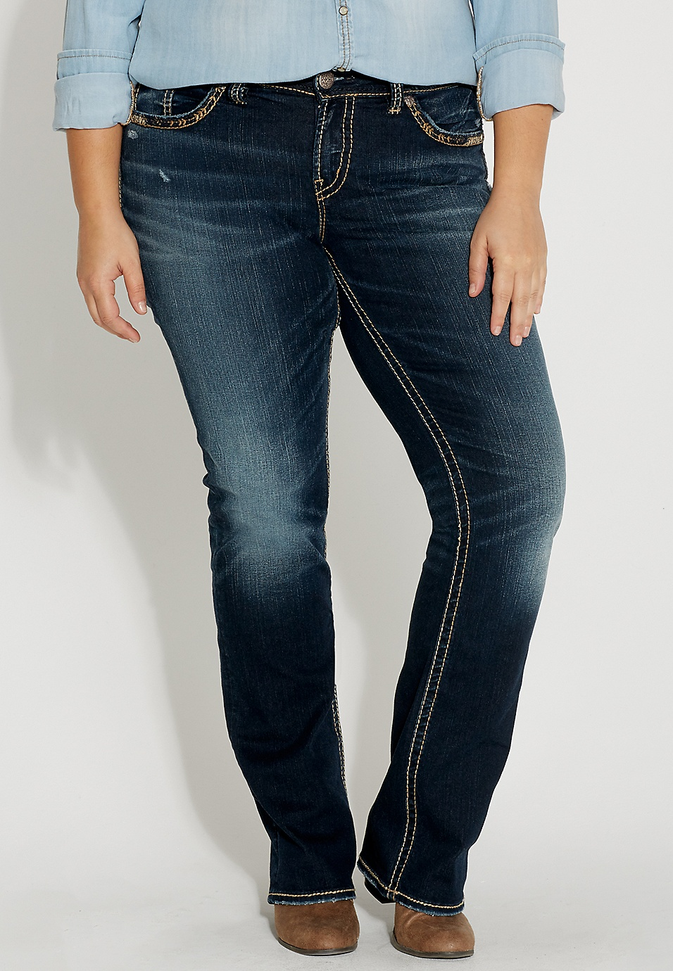 11a1fca3 Silver Jeans Co.® plus size suki slim boot jeans with back flap pockets |  maurices