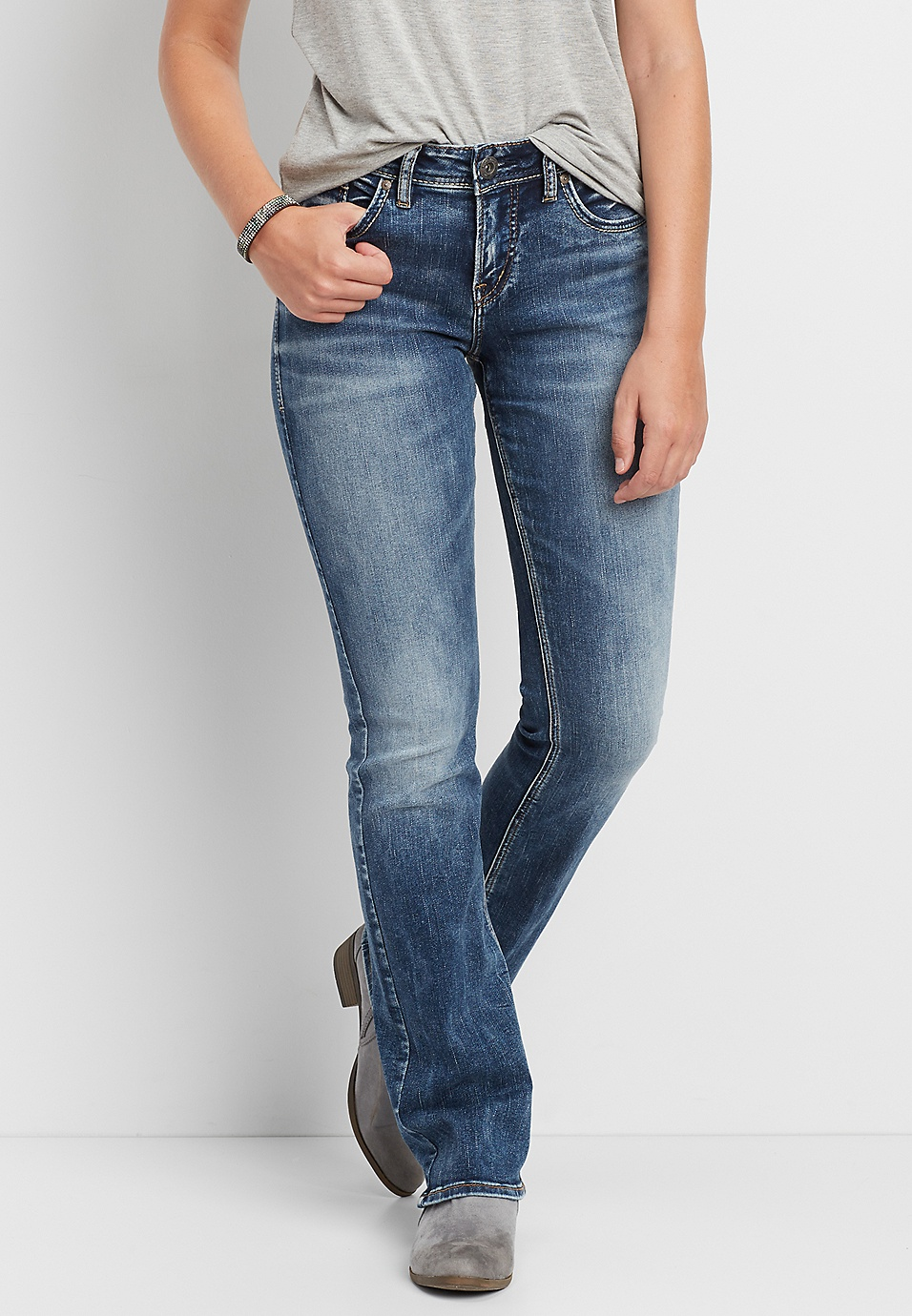 cc2ed1e4 Silver Jeans Co.® Avery high rise slim boot jeans | maurices