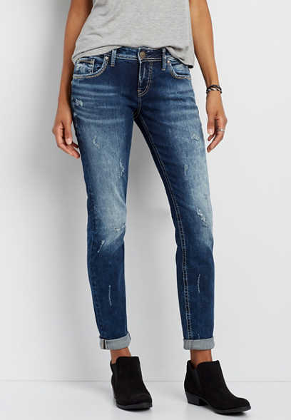 Silver Jeans Co.® Sam marbled boyfriend jeans with destruction