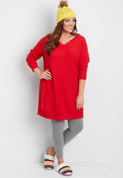 plus size reversed tunic sweatshirt with lace trimmed neckline