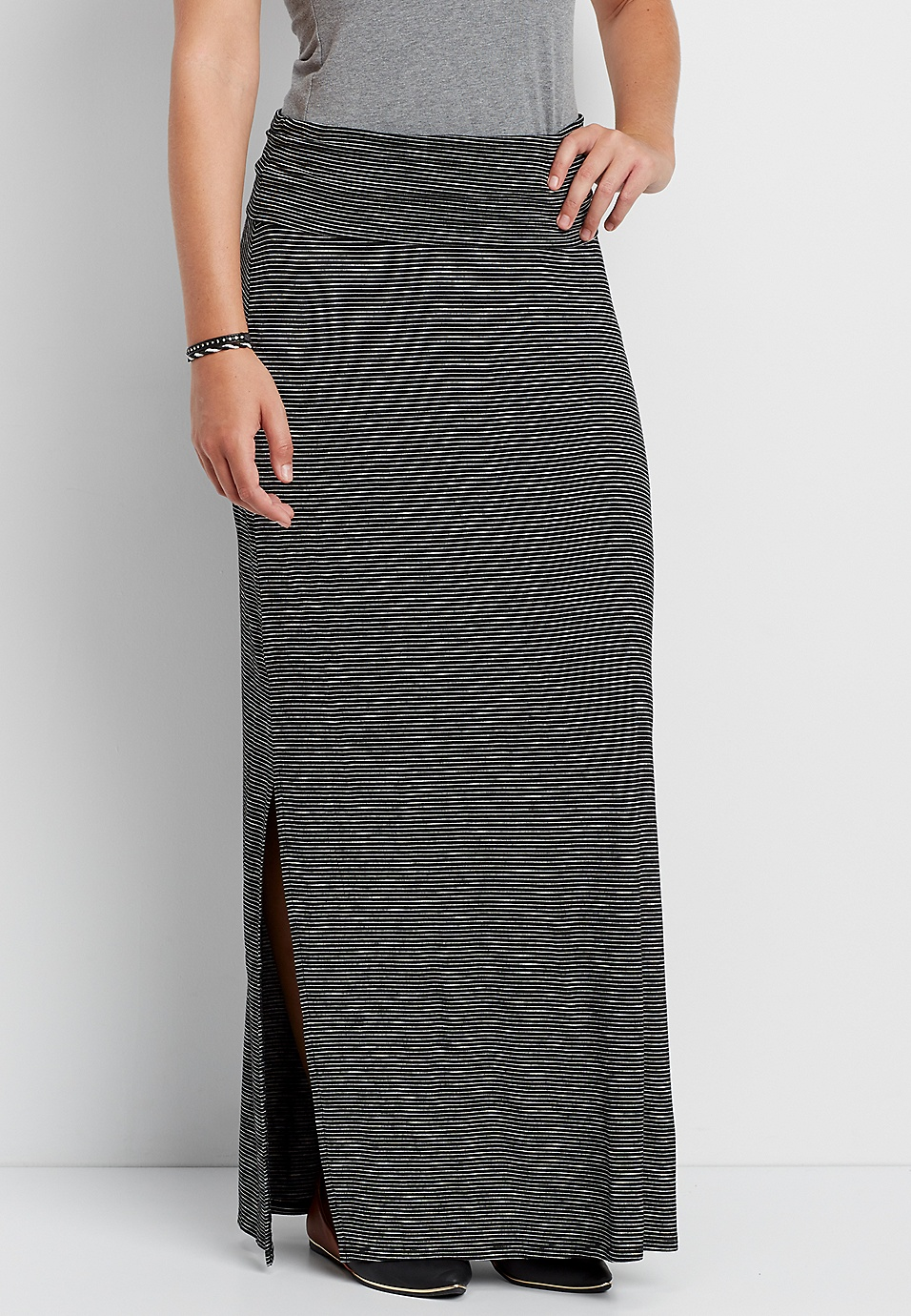 deee2c8ee striped maxi skirt with foldover waistband | maurices