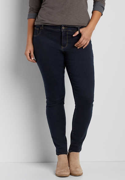DenimFlex™ plus size dark wash jegging  with brown stitching