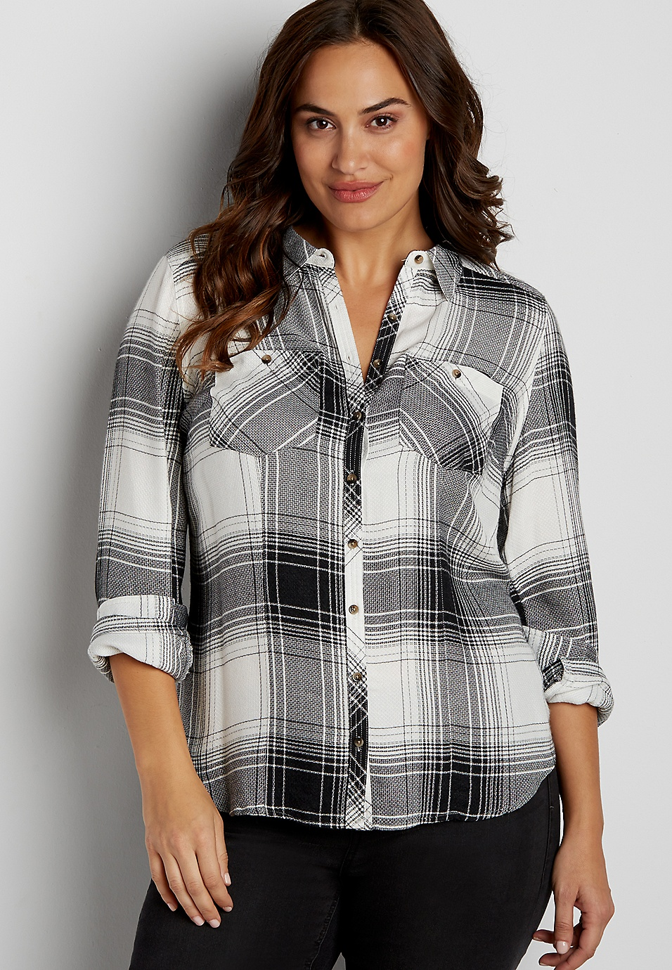 5c8488f7a940c4 plus size button down shirt in black and white plaid   maurices