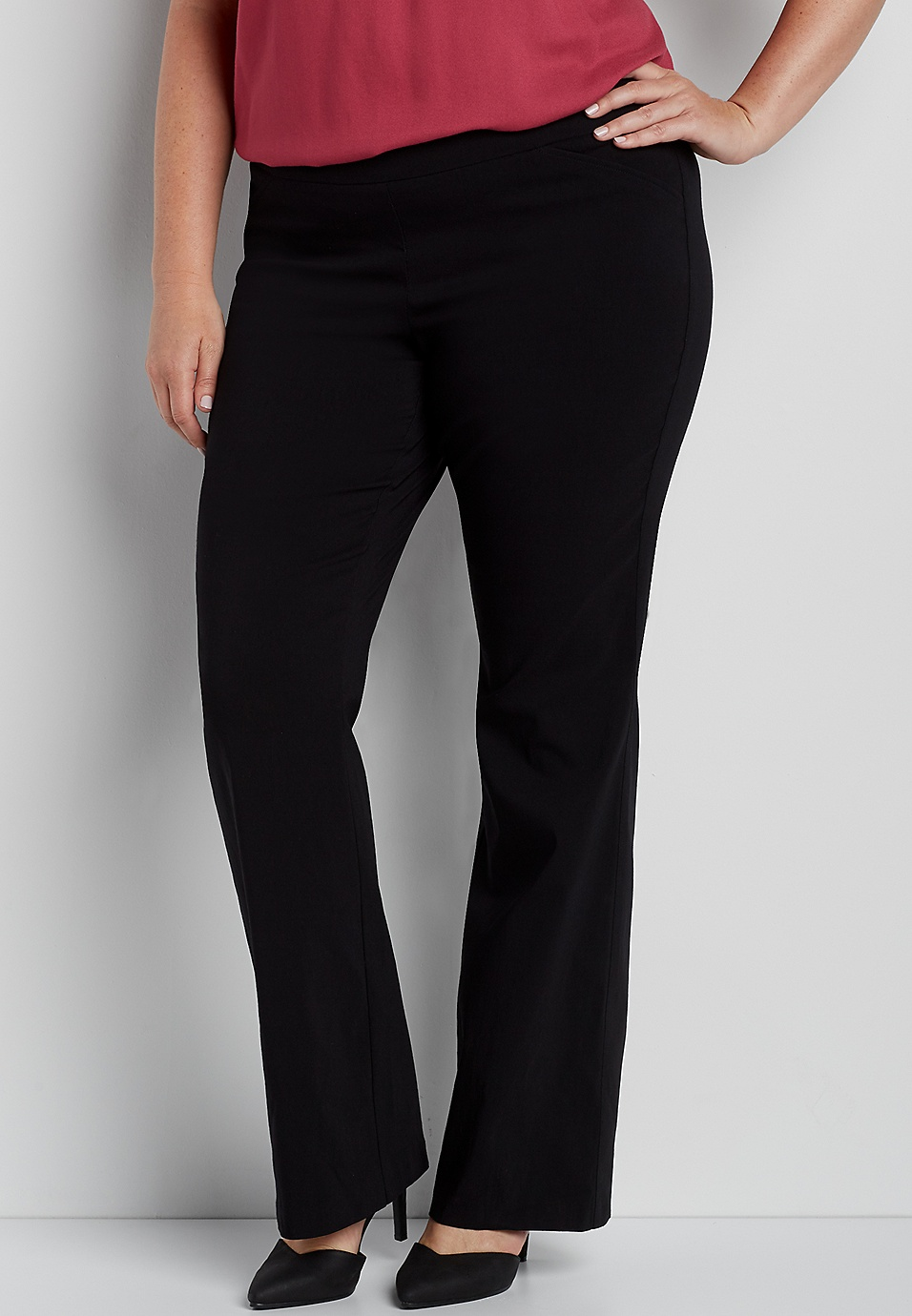 b25d3a30c4b the smart plus size pull on bootcut pant in black