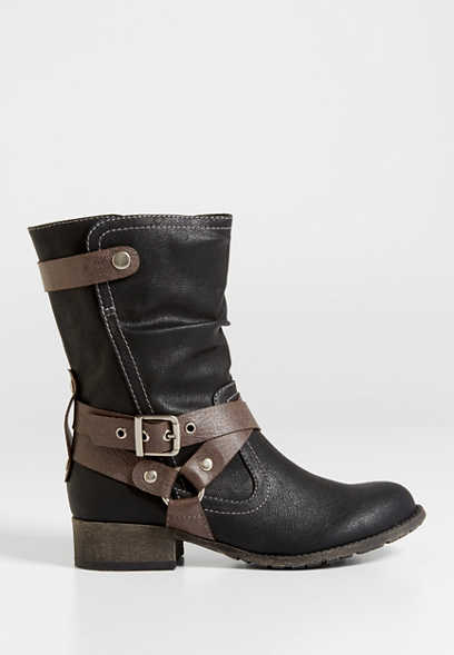 Rachel strappy faux leather boot