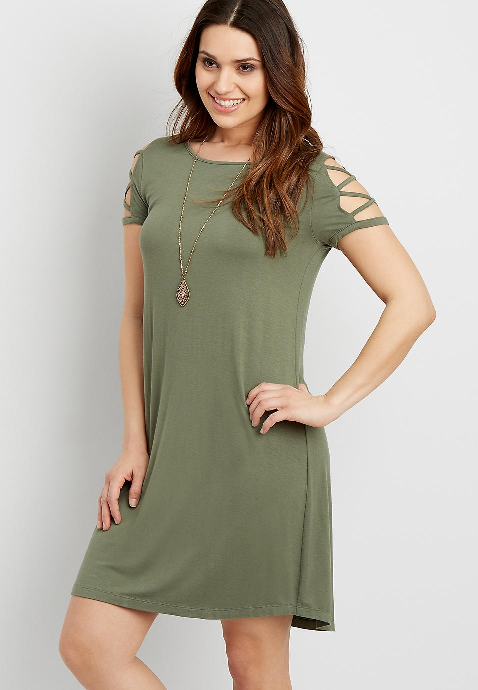 The 247 T Shirt Dress With Strappy Sleeves Maurices