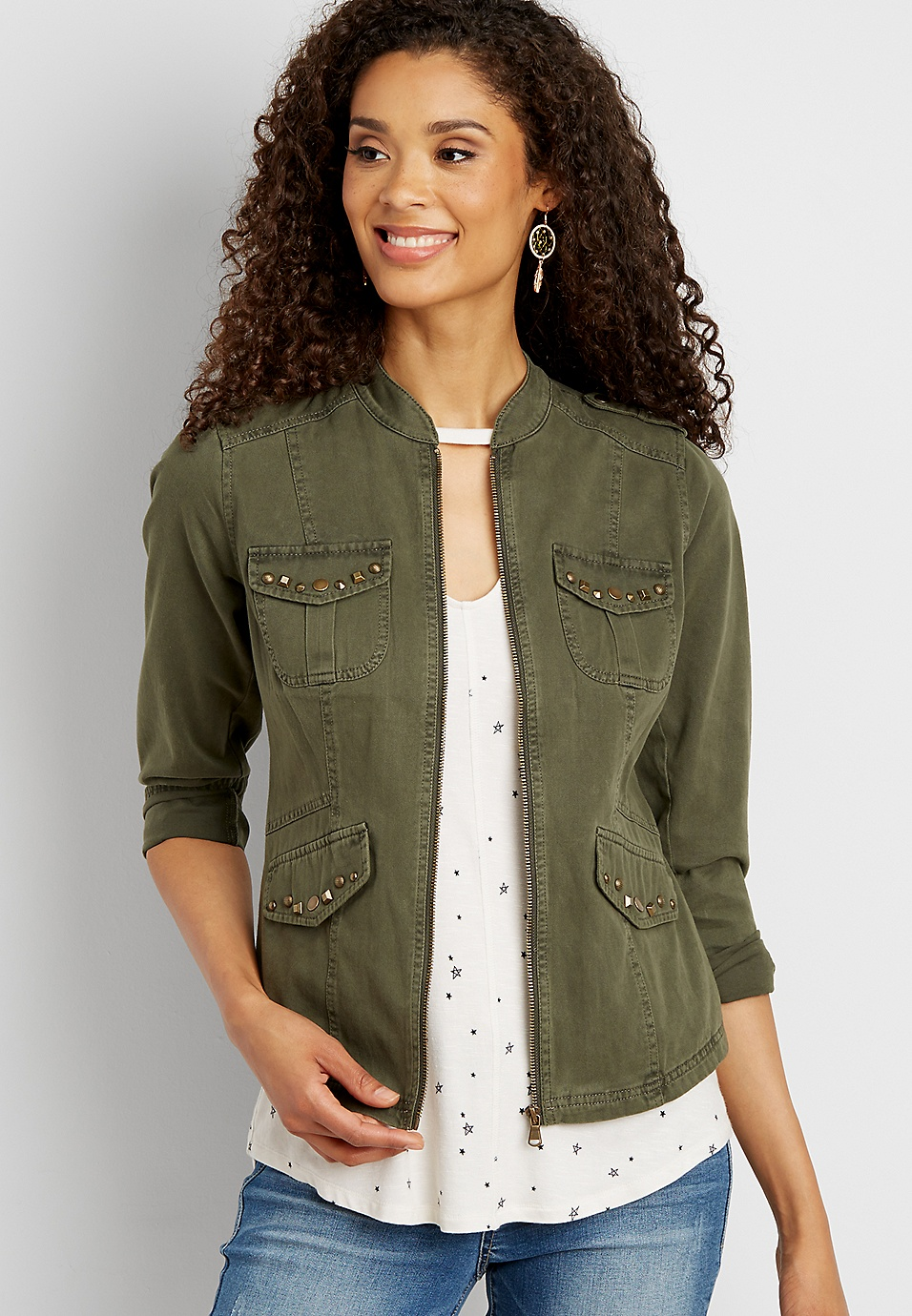 77ba9f96 jacket with studded button flap pockets | maurices