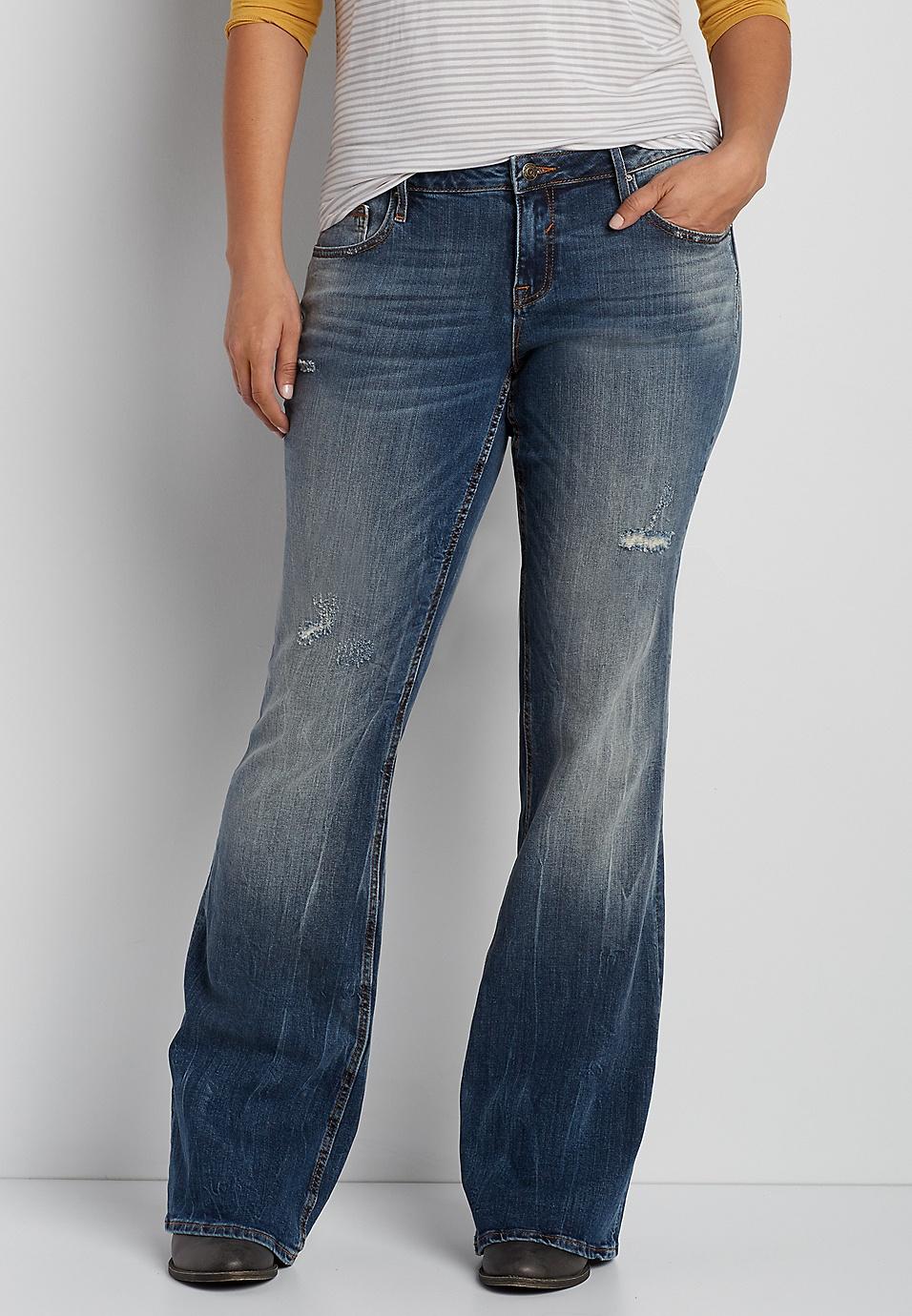 47d1bcb3aa198 Vigoss® plus size flare jeans with destruction. (0). Write a review. Â