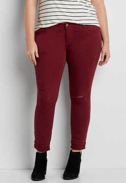 Vigoss® plus size skinny jeans with destruction in red