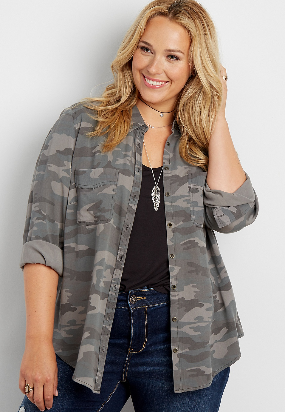 88bf951aadd plus size button down shirt in camo print