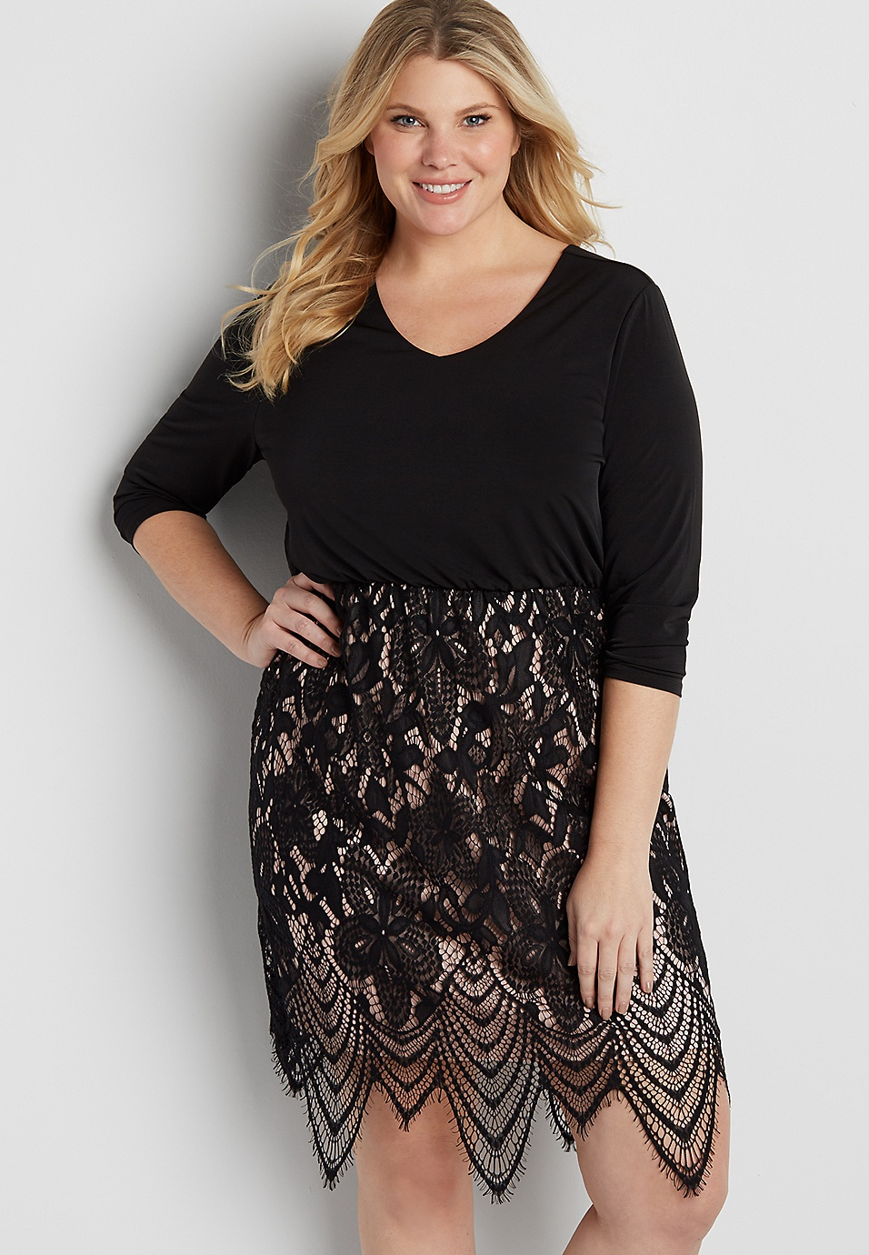 plus size dress with scalloped lace skirt | maurices