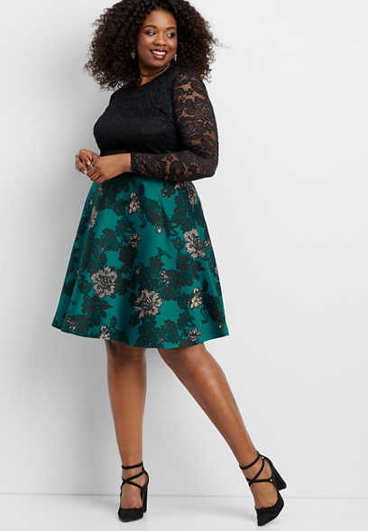 plus size two piece dress in lace and floral print