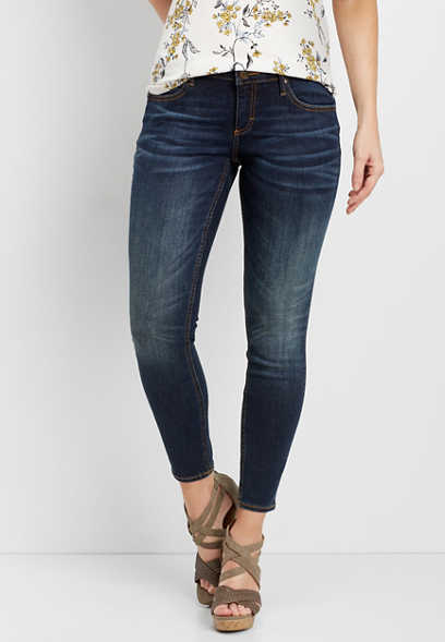 dark wash ankle skinny jeans with whiskering