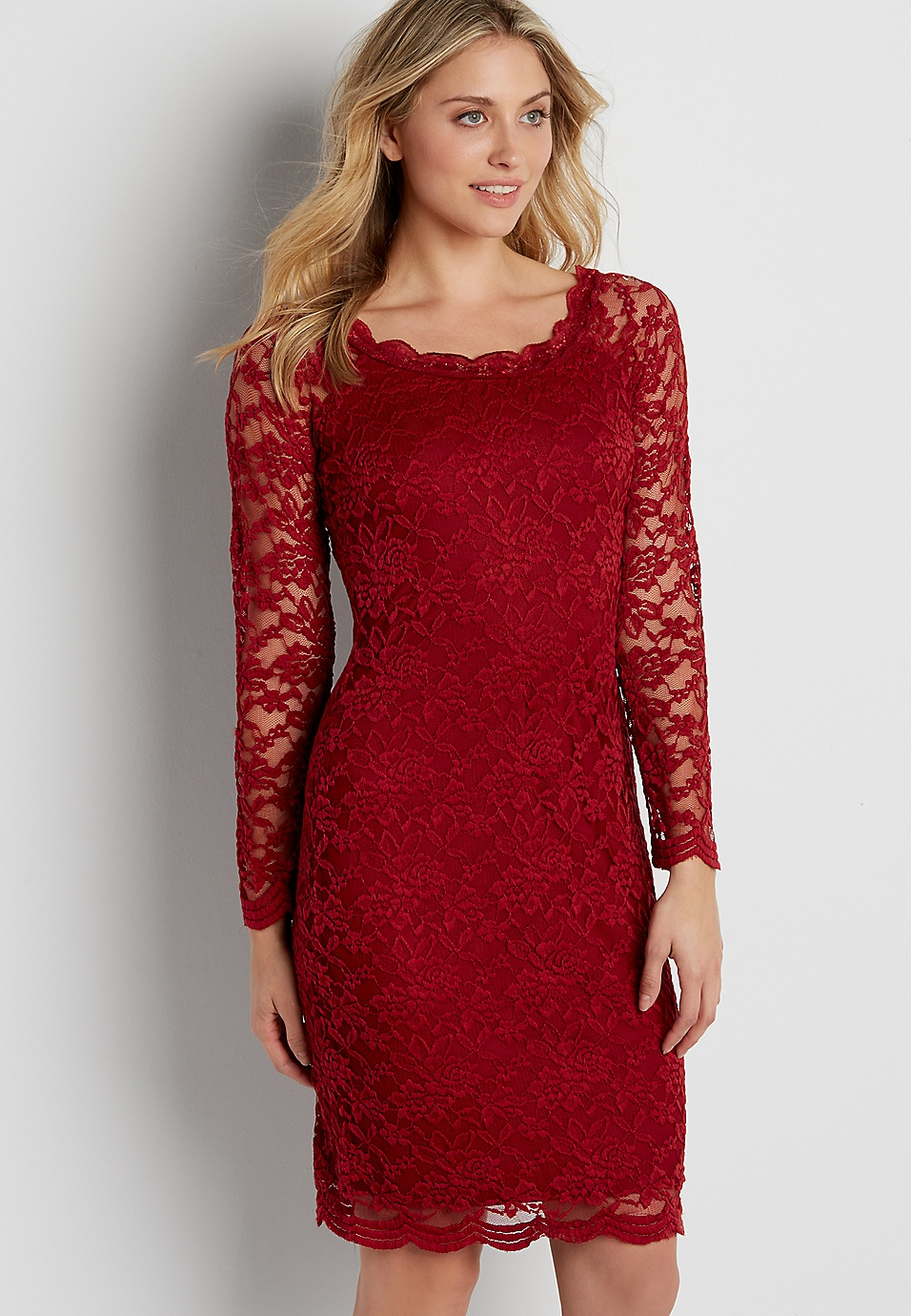74f5b60e57 floral lace dress with scalloped hems in red