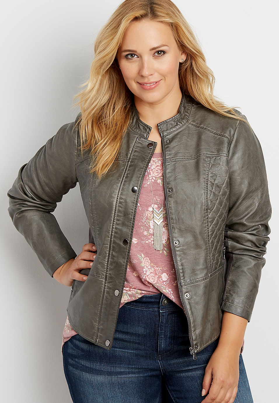 87be173b785 plus size faux leather scuba jacket with ribbing and quilted stitching |  maurices