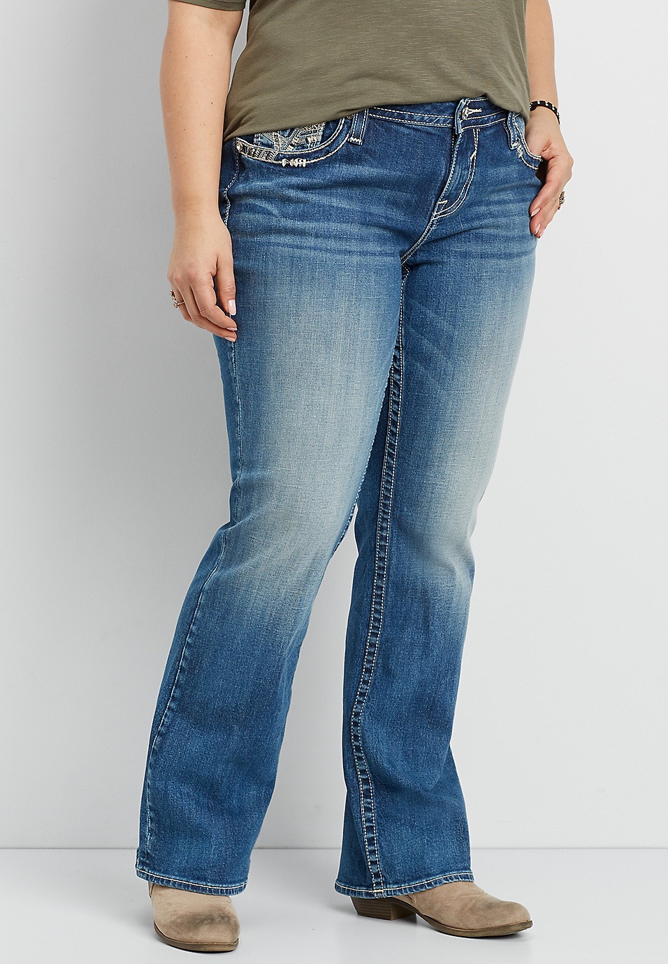415f948d9c5 Vigoss® plus size slim boot jeans with embellished double back pockets