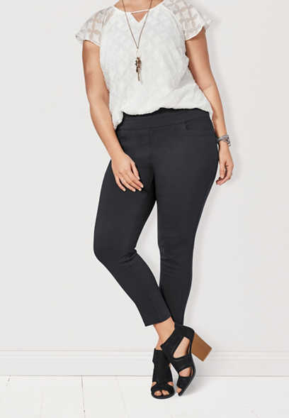 the plus size pull on bengaline skinny ankle pant