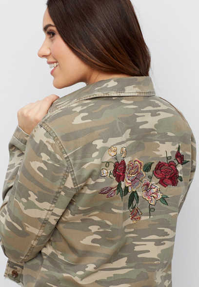 cropped camo jacket with floral embroidery