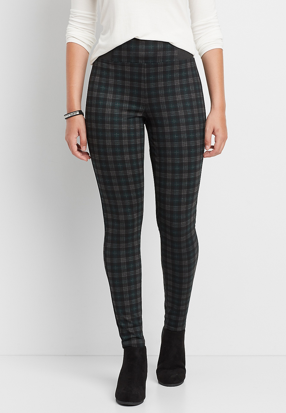 b82d7b4e2a24a the high rise plaid ponte skinny ankle pant | maurices