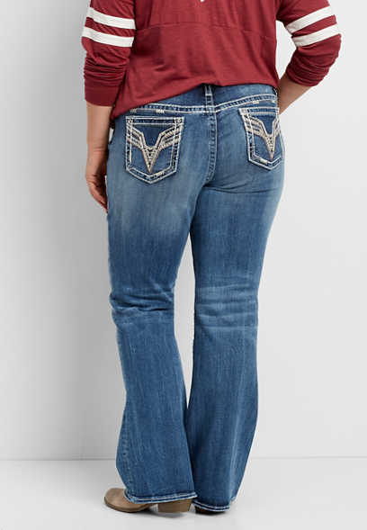 Vigoss® plus size bootcut jeans with rose goldtone metallic stitching