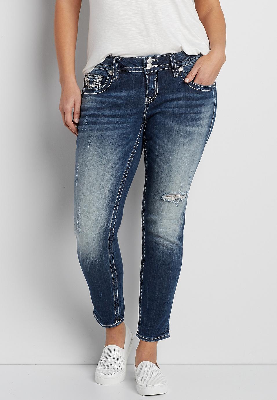 cabd30dbcaf Vigoss® plus size dark wash skinny jeans with destruction