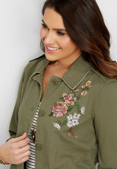 twill jacket with floral embroidery