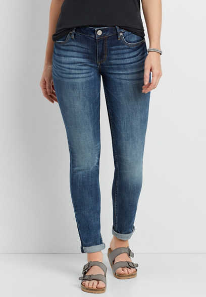 dark wash cuffed ankle skinny jeans with whiskering