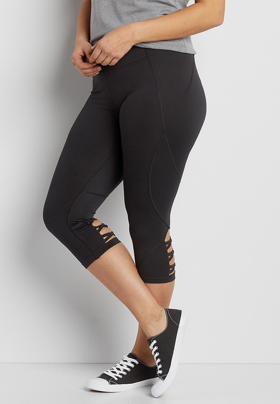 d11e88e09996ec plus size capri legging with strappy back bottom hem | maurices