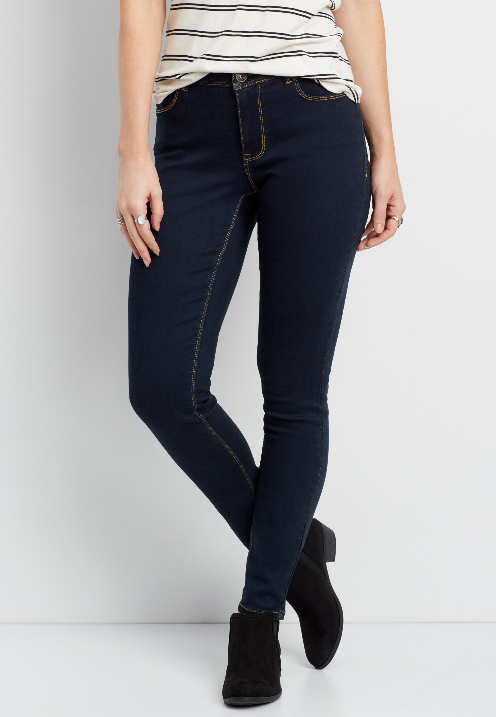 Denimflex Curvy Skinny Jeans In Black Maurices