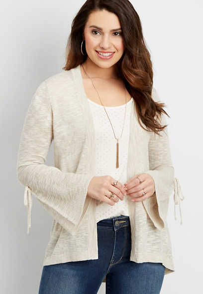 lightweight cardigan with bell shaped sleeves