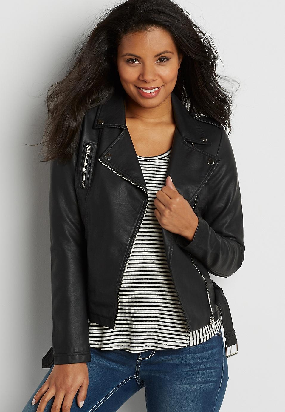 9e2d00510fe belted faux leather moto jacket in black