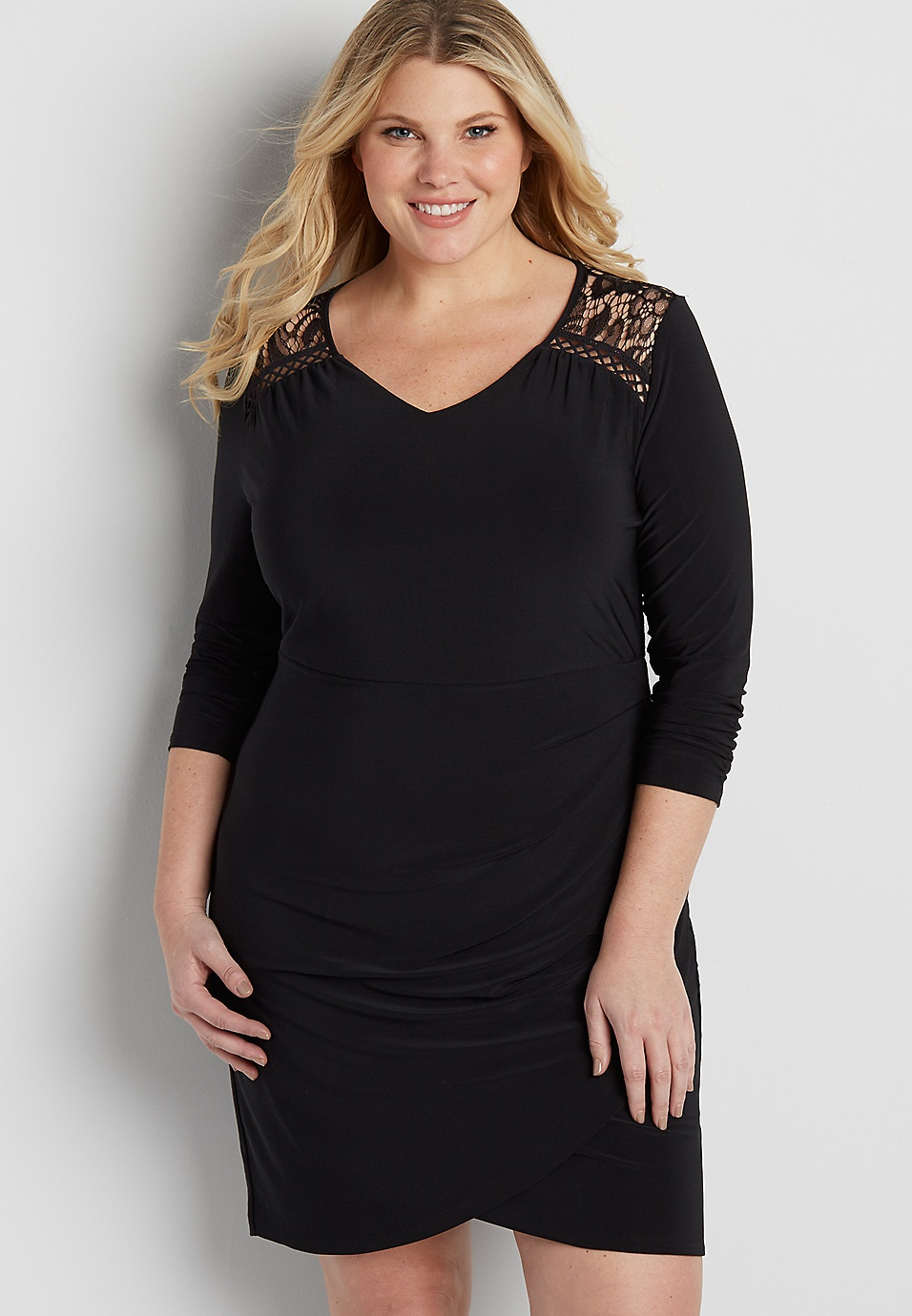 plus size dress with lace and tulip hem | maurices