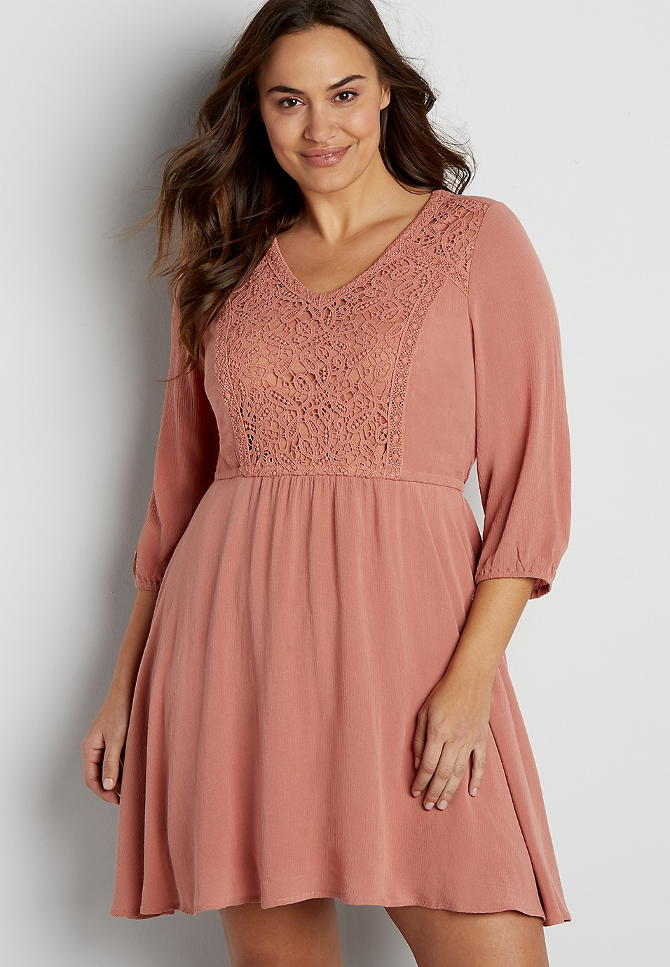 plus size dress with crochet inlay and elbow length sleeves | maurices