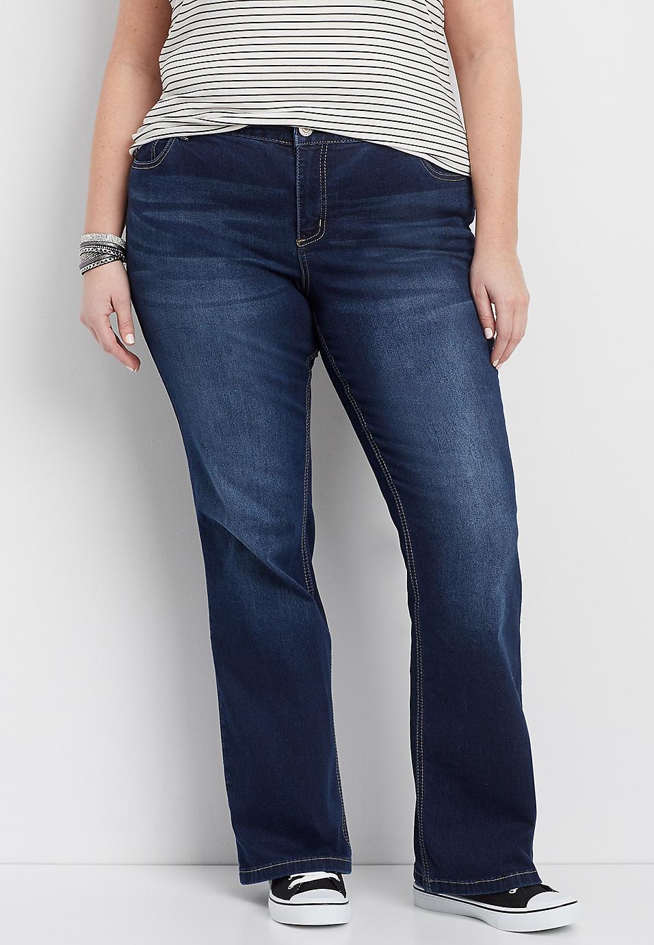 8d1c2b70951 DenimFlex™ plus size dark wash curvy bootcut jeans