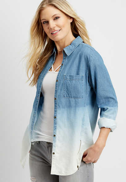 dip dyed button down denim shirt with zippers