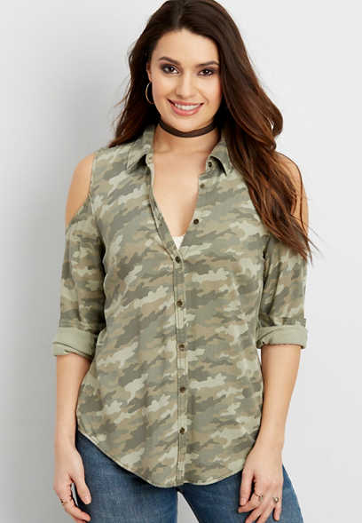 cold shoulder button down camo shirt