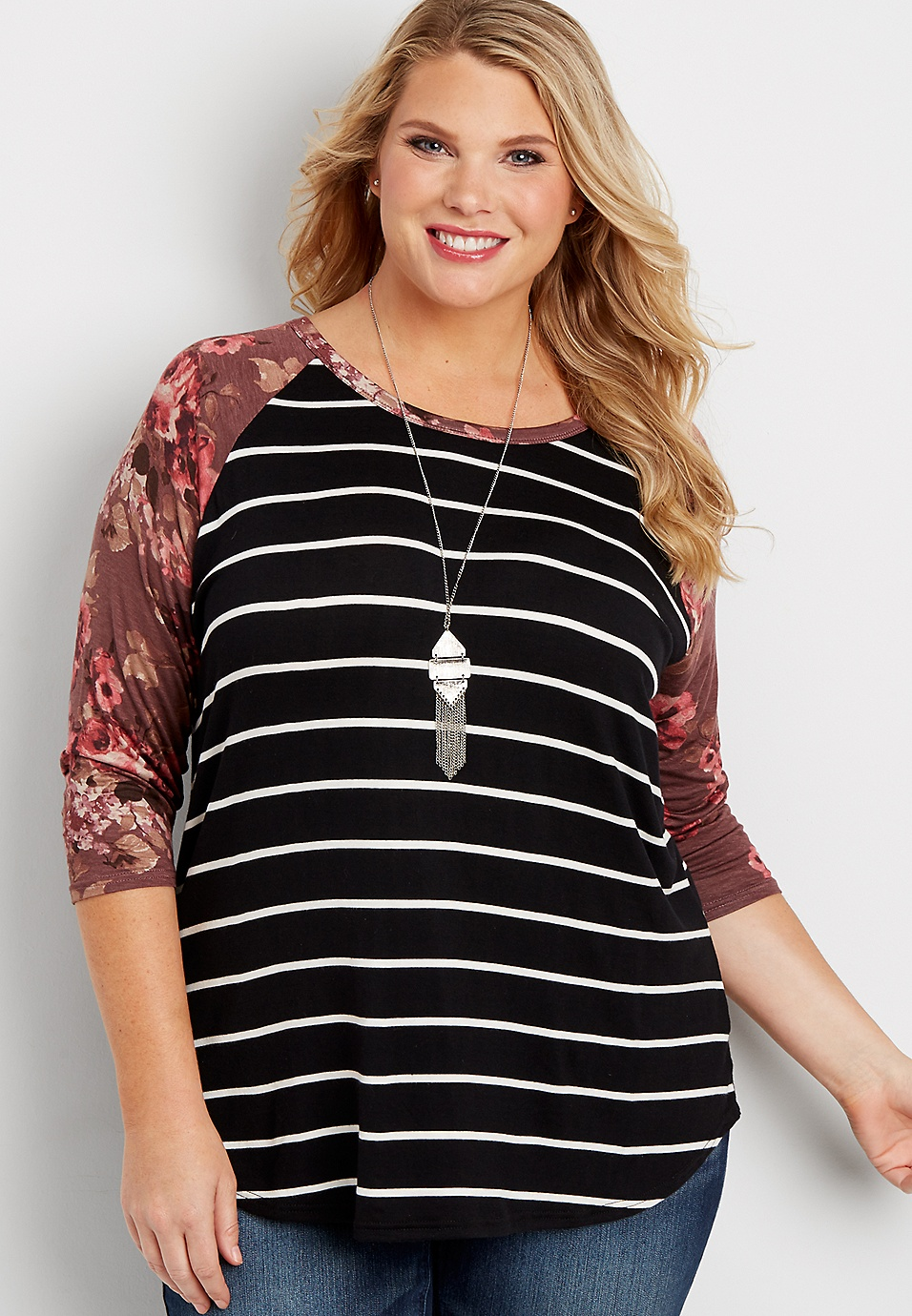 82b57dd5 the 24/7 plus size striped baseball tee with floral print sleeves | maurices