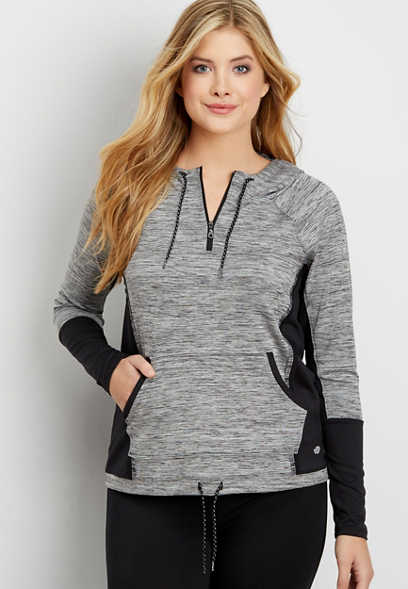 spacedye hooded quarter zip pullover sweatshirt