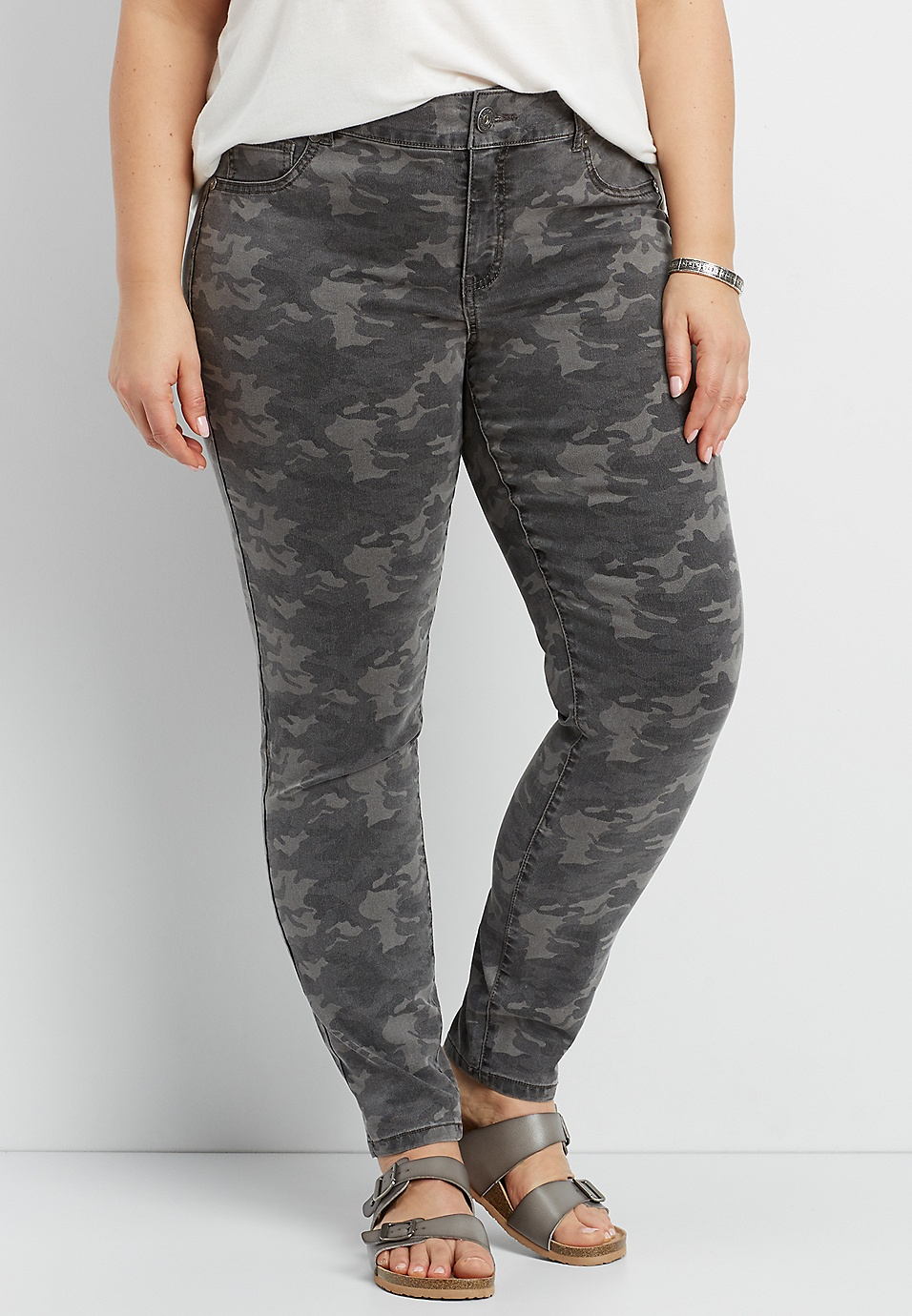 6c8f5a69a7152 DenimFlex™ plus size jegging in gray camo print | maurices