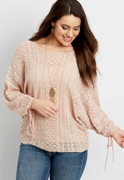 tie sleeve pointelle stitched sweater