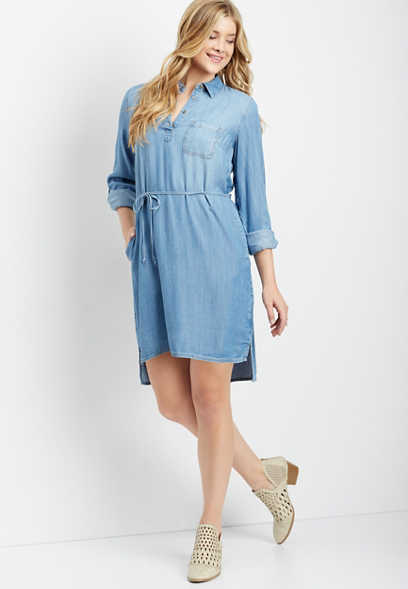 chambray tied waist shirt dress
