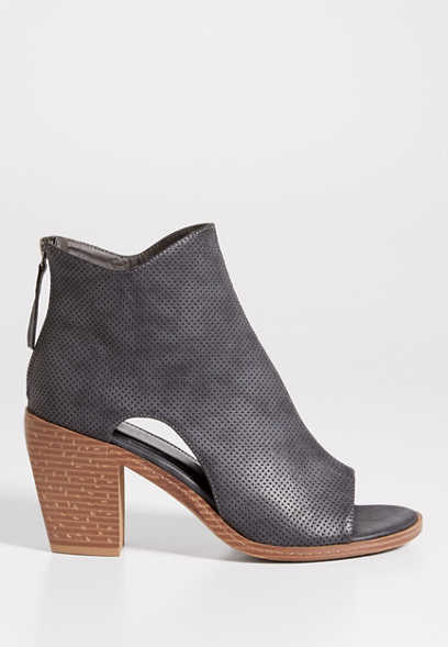 Dani distressed and perforated peep toe heeled bootie
