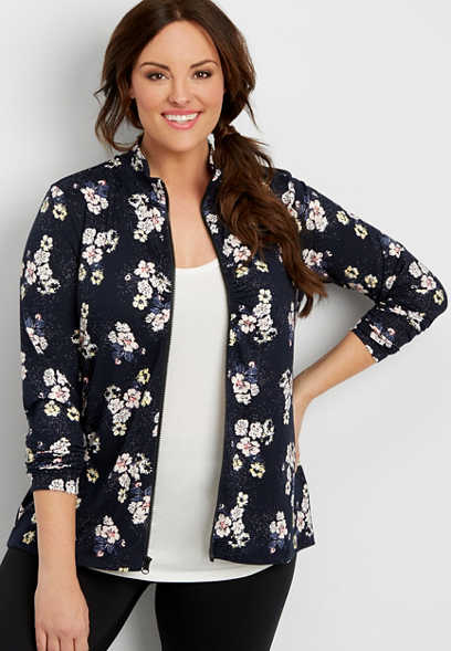 plus size ultra soft zip up jacket in floral print
