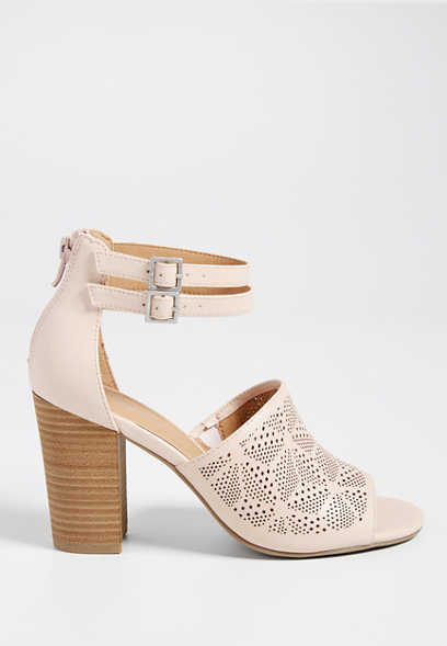 Jenna perforated faux leather double ankle wrap heel