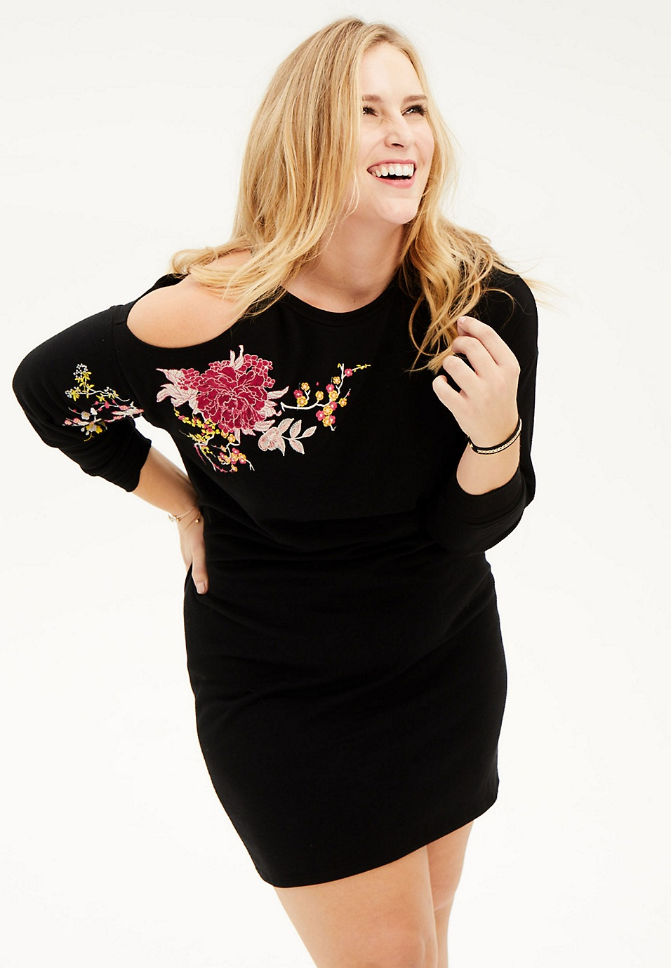 plus size sweatshirt dress with single cold shoulder and ...