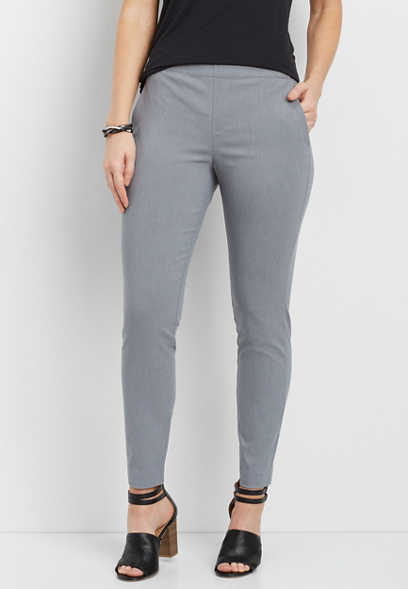 pull-on gray skinny ankle pants